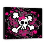 Girly Skull & Crossbones Canvas 14  x 11  (Stretched)