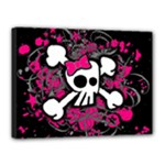 Girly Skull & Crossbones Canvas 16  x 12  (Stretched)