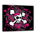 Girly Skull & Crossbones Canvas 20  x 16  (Stretched)