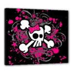Girly Skull & Crossbones Canvas 24  x 20  (Stretched)