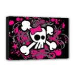 Girly Skull & Crossbones Deluxe Canvas 18  x 12  (Stretched)