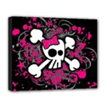 Girly Skull & Crossbones Deluxe Canvas 20  x 16  (Stretched)