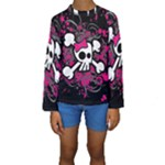 Girly Skull & Crossbones Kids  Long Sleeve Swimwear