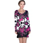 Girly Skull & Crossbones Long Sleeve Nightdress