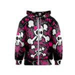 Girly Skull & Crossbones Kids  Zipper Hoodie