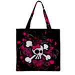 Girly Skull & Crossbones Zipper Grocery Tote Bag