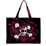 Girly Skull & Crossbones Zipper Mini Tote Bag