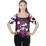 Girly Skull & Crossbones Cutout Shoulder Tee