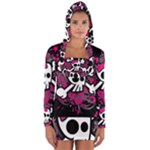 Girly Skull & Crossbones Long Sleeve Hooded T-shirt
