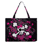 Girly Skull & Crossbones Zipper Medium Tote Bag