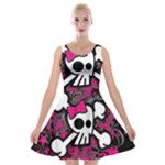 Girly Skull & Crossbones Velvet Skater Dress