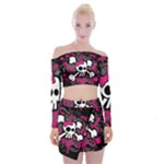 Girly Skull & Crossbones Off Shoulder Top with Mini Skirt Set