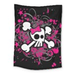 Girly Skull & Crossbones Medium Tapestry