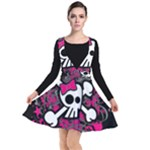 Girly Skull & Crossbones Plunge Pinafore Dress
