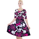 Girly Skull & Crossbones Quarter Sleeve A-Line Dress