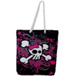 Girly Skull & Crossbones Full Print Rope Handle Tote (Large)
