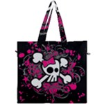 Girly Skull & Crossbones Canvas Travel Bag