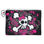 Girly Skull & Crossbones Canvas Cosmetic Bag (XL)
