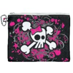 Girly Skull & Crossbones Canvas Cosmetic Bag (XXL)
