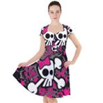 Girly Skull & Crossbones Cap Sleeve Midi Dress
