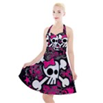 Girly Skull & Crossbones Halter Party Swing Dress