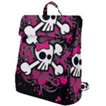 Girly Skull & Crossbones Flap Top Backpack