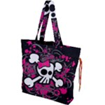 Girly Skull & Crossbones Drawstring Tote Bag