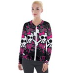 Girly Skull & Crossbones Velour Zip Up Jacket