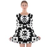 Gothic Punk Skull Long Sleeve Skater Dress