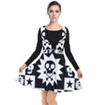 Gothic Punk Skull Plunge Pinafore Dress