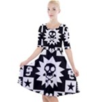 Gothic Punk Skull Quarter Sleeve A-Line Dress