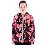 Love Heart Splatter Women s Zipper Hoodie