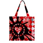 Love Heart Splatter Zipper Grocery Tote Bag