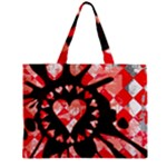 Love Heart Splatter Zipper Mini Tote Bag