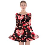 Love Heart Splatter Long Sleeve Skater Dress