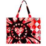 Love Heart Splatter Zipper Large Tote Bag