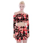 Love Heart Splatter Off Shoulder Top with Mini Skirt Set