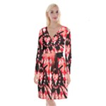 Love Heart Splatter Long Sleeve Velvet Front Wrap Dress