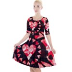 Love Heart Splatter Quarter Sleeve A-Line Dress