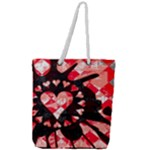 Love Heart Splatter Full Print Rope Handle Tote (Large)