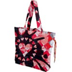 Love Heart Splatter Drawstring Tote Bag