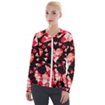 Love Heart Splatter Velour Zip Up Jacket