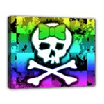 Rainbow Skull Canvas 14  x 11  (Stretched)