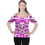 Skull Princess Cutout Shoulder Tee