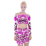 Skull Princess Off Shoulder Top with Mini Skirt Set