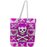 Skull Princess Full Print Rope Handle Tote (Large)