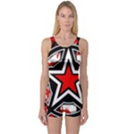 Star Checkerboard Splatter One Piece Boyleg Swimsuit