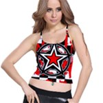 Star Checkerboard Splatter Spaghetti Strap Bra Top