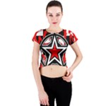 Star Checkerboard Splatter Crew Neck Crop Top