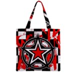 Star Checkerboard Splatter Zipper Grocery Tote Bag